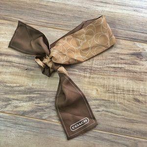 "COACH 34"" ponytail silk scarf copper logo"